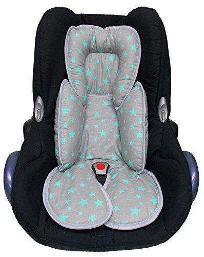 Sweet Baby ** SLEEPY Auto-Sitzverkleinerer / NeugeborenenEinsatz Antiallergikum LITTLE STARS ** Passend für Babyschalen Gr. 0/0+ und Gr. 1 ** Ideal auch für Maxi Cosi, Cybex etc. sowie Kinderwagen, Babywanne etc. (Grau Türkis)