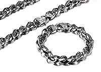 Yozone Men Necklaces Chain Necklace Bracelet Jewelry Set for Men Women, 10mm Width, 24.2