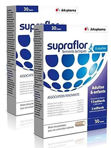Arkopharma - Supraflor Ferments Lactiques - 6 souches Association Innovante - Lot de 2 x 30 Gélules