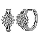 Dreamy Frauen Diamant Blume Ohrclips Kreolen Ohrringe 925 Sterling Silber Loop Ohrringe