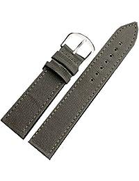 Resistente al agua de la banda de cuero correa de reloj de la lona original de 20 mm hebilla de acero de color verde
