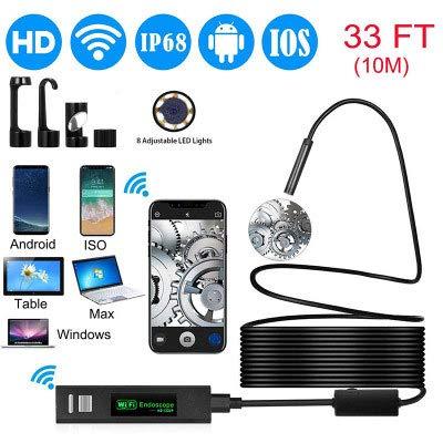 CRZJ WiFi Endoskop, 1200P HD Apple Android-Handyendoskop, 8 einstellbare LED-Leuchten, Schwarz