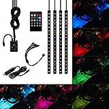 Xcellent Global 4x30cm 18 SMD LED RGB Pkw Innen Licht Streifen Licht Wasserdicht Leuchten Neon Dekorationslampe sundgesteuerte Fernbedienung + Auto Ladegerät, AT010