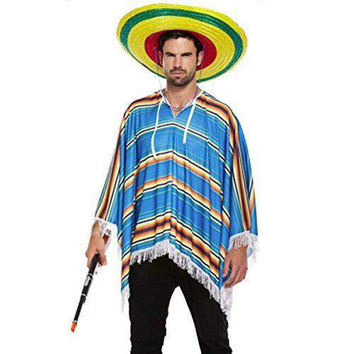 NEW BLUE MEXICAN PONCHO WILD WEST FANCY DRESS COSTUME (disfraz)