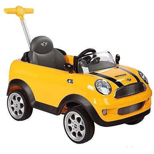 *ROLLPLAY Push Car mit ausziehbarer Fußstütze, Für Kinder ab 1 Jahr, Bis max. 20 kg, MINI Cooper, Gelb*