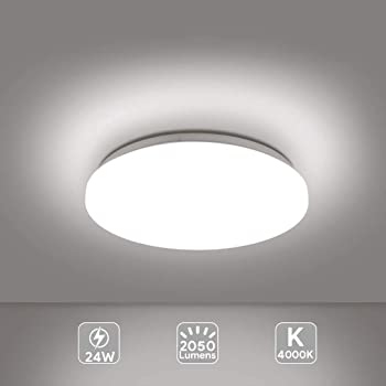 Plafoniera Led Lampada A Soffitto 4000k Warm White 24w 2050 Lumens