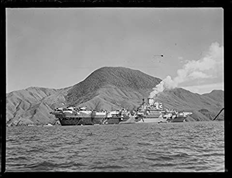POSTER A3 New Zealand British aircraft carrier Indefatigable, Queen Charlotte Sound, November 1945 Photographer: William Hall Raine