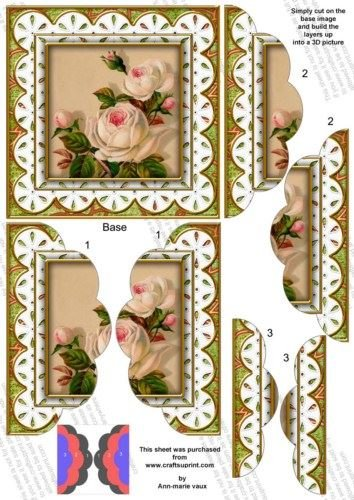 Cream Roses Anglaise 5lato in Capesante Stacker by ann-marie Vaux