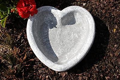 Pflanzschale Vogeltränke Herz, Garten Deko Grabschmuck,massiver Steinguss, frostfest bis -30°C von Stone and Style bei Du und dein Garten