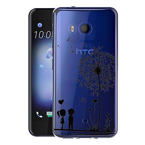 Custodia Cover Per HTC U11 WenJie il Dente di Leone Amore Trasparente Silicone Sottile Back Case Molle di TPU Trasparente per HTC U 11