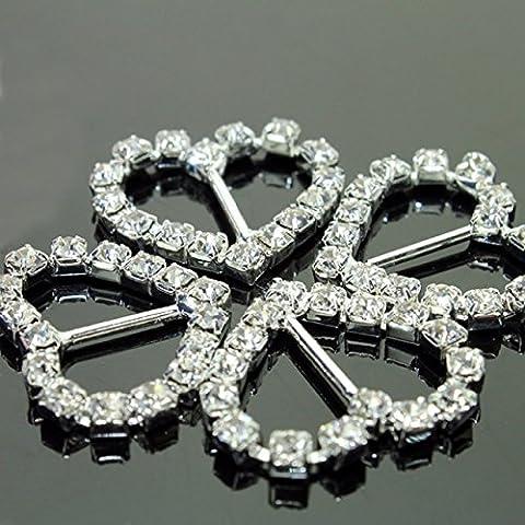 Nuovi 30pcs A-Grade strass Fibbia Diamante a forma di cuore fibbia Fornitura di nozze invito decorazione di nozze