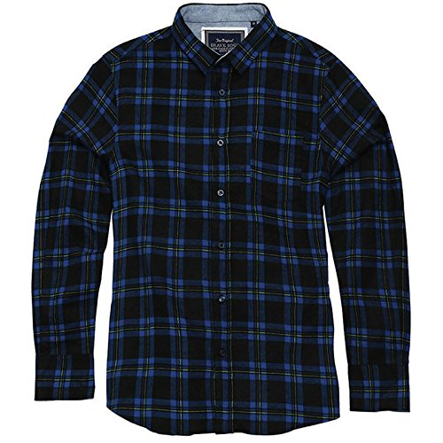 Brave Soul Herren Check Shirt Duffey Lange Ärmel Weiche gebürstete Baumwolle mit Classic Point Kragen und Brusttasche Gr. Small, Black/Blue/Yellow (Royal Mesh Classic Shorts Blue)