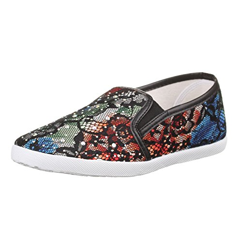 Ital-Design - Sneaker Donna Multicolore (Nero/Multicolore)
