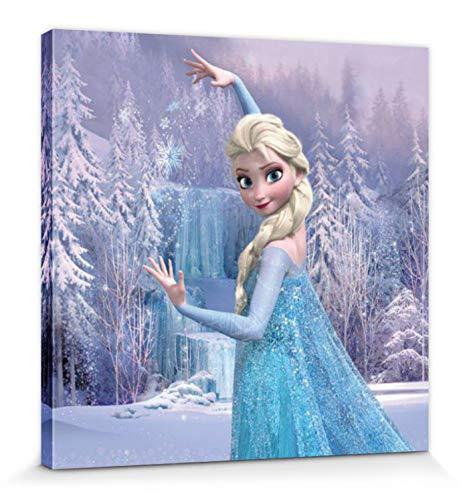 1art1 81396 Die Eiskönigin, Völlig Unverfroren - ELSA Verzauberter Winterwald Poster Leinwandbild Auf Keilrahmen 30 x 30 cm