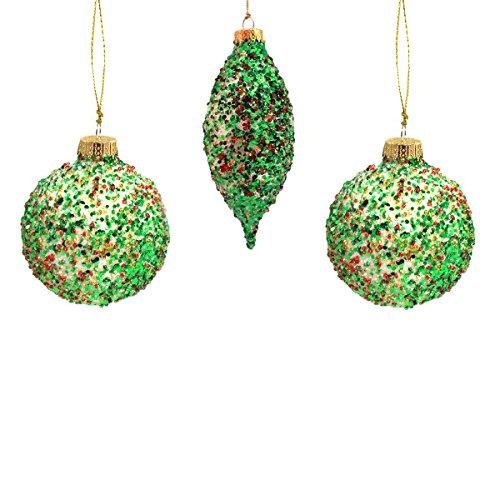 Holiday Urlaub Lane Set von 3Glitter Ball und Länglichen Christmas Ornaments; Grün & Rot -