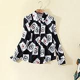 Mayihang Chemisier Chemise Robe de printemps Imprimer Poker shirt femme manches longues chemise mousseline revers femme printemps,Black,xl