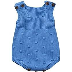 Longra Ropa Bebé Unisex Mameluco de Bebé de Otoño e Invierno Ropa de Niños De Punto (6M, Azul)