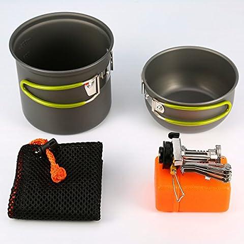 Asvert Camping Cookware Kit Nonstick & Lightweight Pots Camping Stove Mesh Bag 4-Iterms Camp Kitchen