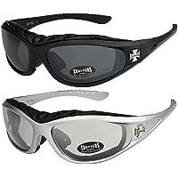 2er Pack Choppers 911 Sonnenbrillen Motorradbrille Sportbrille Radbrille - 1x Modell 05 (silber / annährend transparent) und 1x Modell 05 (silber / annährend transparent) - Modell 05 + 05 - 3qwYf5