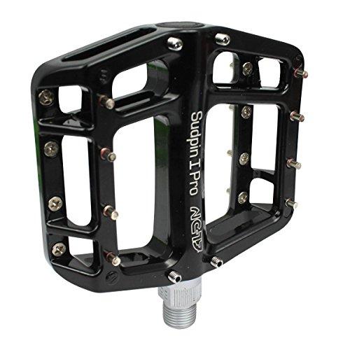 NC-17 Sudpin I Pro Aluminium Plattform Pedale / Fahrrad Pedale MTB / Mountainbike Pedal / BMX Pedal / Kugellager + Cr-Mo Achse / inklusiv Ersatzpins,  Schwarz (Mountainbike-pedale - Aluminium)