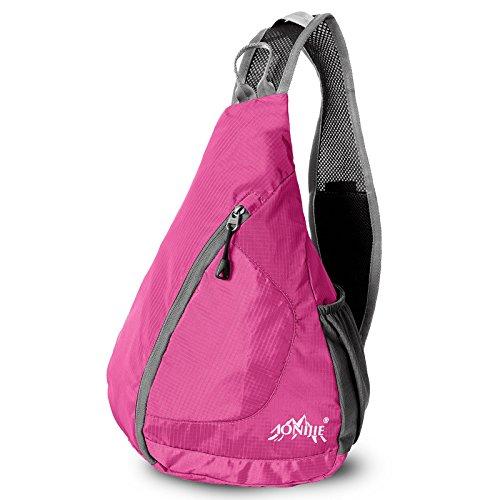 Imagen de aonijie bolsa de nylon para cuerpo cruz bolsa de pecho hombro  para viajar/al aire libre/deportes/camping/hinking, hot pink alternativa