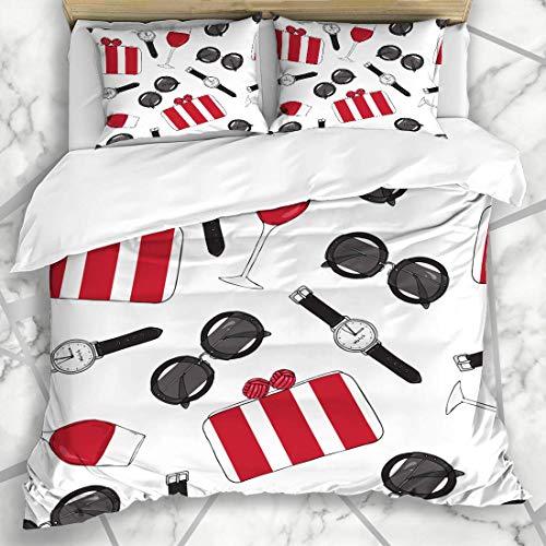 Soefipok Bettbezug-Sets Glamorous Red Girly Pattern Lippenstift Brille Glossy Maroon Shopping Black Boss Schickes Design Brillen Mikrofaser Bettwäsche mit 2 Kissenbezügen