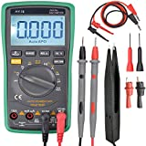 Digital Multimeter, Auto Ranging Digital Multimeter Multi Tester 6000 Counts AC/DC Voltage/Current Resistance Detector Voltmeter Ammeter Ohmmeter Ampere Meters Includes Alligator Clips Electronic Measuring Instrument with Backlight LCD