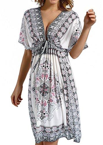 fa02fe0505a6 Tkiames Copricostume da Bagno Donna Estate Abito da Spiaggia Mare  Copricostume Parei Copri Costumi Kimono Scollo