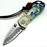EF29 Mini Folding Pocket Knife Damascus Steel Blade Shell Handle Outdoor Folding Camping...
