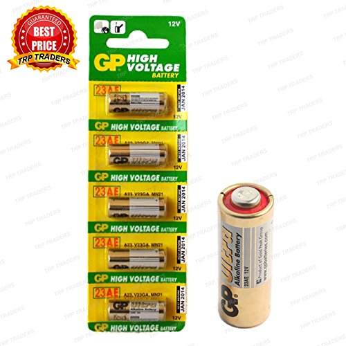 TRP TRADERS 5 Pieces Pack of Original 23A GP 12V Alkaline Battery 12V 23A High Voltage Cell Car Remote Battery, 23AE-C5 A23 MN21 LRV08