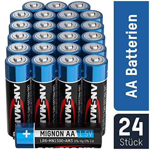 ANSMANN Batterien AA Mignon Alkaline 24 Stück Vorratspack - LR6 Alkali Batterie - Universal und Leistungsstark - umweltschonende Verpackung