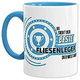 Tassendruck Berufe-TasseSo Sieht der Beste Fliesenleger aus Innen & Henkel Hellblau/Job/Tasse mit Spruch/Kollegen/Arbeit/Fun/Mug/Cup/Geschenk Qualität - 25 Jahre Erfahrung