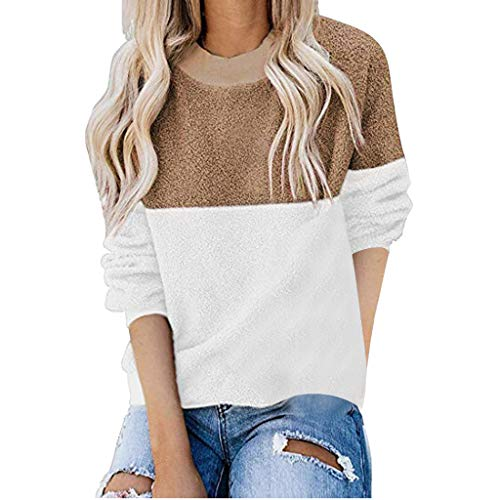 clacce Damen Pullover Langarm Warm Winterpullover Teddy-Fleece mit V-Ausschnitt Sweaters Casual Sweatshirt Outwear Funktions Fleece-Pullover