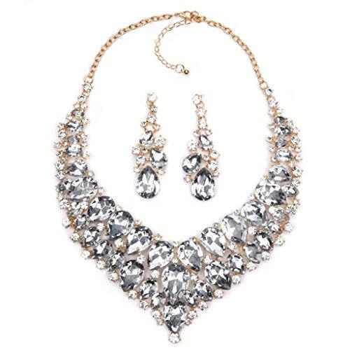Kitzen Frauen-Mode-Halsketten-Halsketten-Glascluster-Aussagen-Ketten-Bib-Korn-Kristallkragen-Halsband-Statement-Ohrringe 3pc Qualität , D (Reize Schmuck Großhandel)