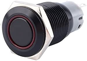 Qiilu Druckschalter 12 V 3 A 16 Mm Auto Wasserdicht Schalter Rot Verriegelung Wippschalter Ein Auto