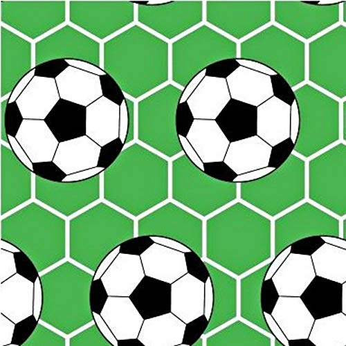 Ball Fussball 100% Baumwolle Baumwollstoff Kinder Kinderstoff Meterware Handwerken Nähen Stoff Tiermotiv 100x160cm 1 Meter (Fussball Grün) -