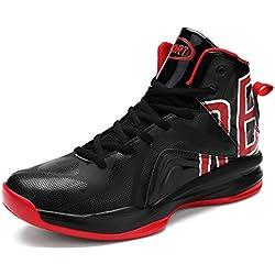 ASHION Zapatillas de Baloncesto para Hombre Negro Rojo Blanco