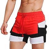TUDUZ Herren Breathable Badehose Badeshorts Kurze Hose Shorts Slip Schwimmhose (Rot, M(Taille:70-76cm))