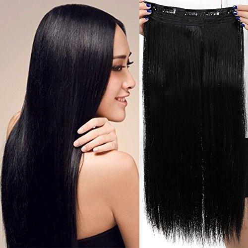 "Clip in Extensions wie Echthaar Schwarz Haarverlängerung Haarteil hitzebeständig Glatt 1 Tresse 5 Clips 30""(76cm)-150g"