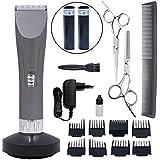 Ibeston Low Noise Professionelle schnurlose Haarschneider, elektrische Kinder Grooming Clippers (grau)