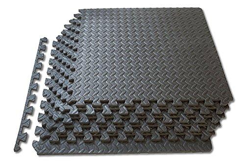 1st Click, Schaumstoffmatten / Bodenplatten, zusammensteckbarer Bodenbelag, für Spiel und Sport / Garage / Werkstatt, in Dunkelgrau, 24 Sq Ft