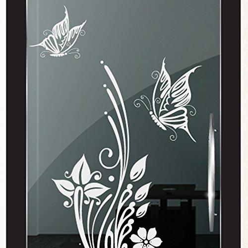 DD Dotzler Design 2111-2 Milchglasfolie Glastür Fenster Motiv Fensterfolie Schmetterlinge Blumen Badezimmer Küche