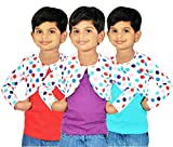 Gkidz Girls Combo Of 3 Graphic Cotton Vest And Shrug Pack of 3 (GIRLS-3PCK-VEST-CMB-2-3-4Y_ Multicolor_3-4 Years)