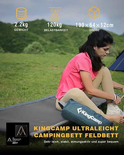 KingCamp Ultraleicht Aluminium Feldbett Campingbett bis 120 kg belastbar, Gewinner des Designpreises Compasso D\'oro 2017