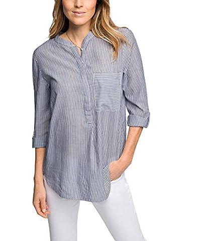 edc by ESPRIT Damen Regular Fit Bluse gestreift, Gr. 36 (Herstellergröße: S), Blau (NAVY 400)