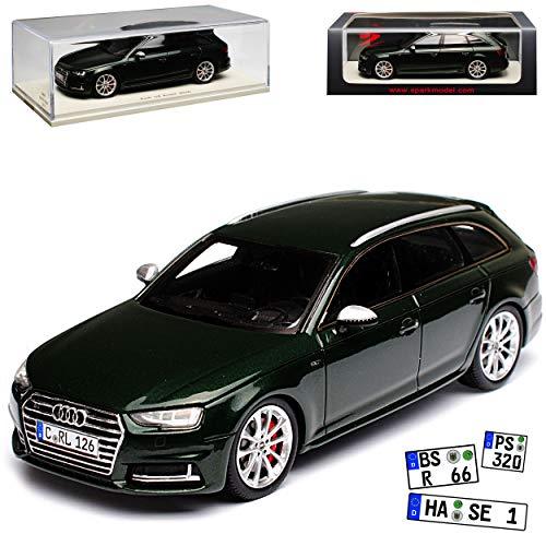 Spark Audi A4 S4 B9 Avant Kombi Dunkel Grün Fast Schwarz 5. Generation Ab 2015 1/43 Modell Auto mit individiuellem Wunschkennzeichen (Audi S4 Spielzeug Auto)