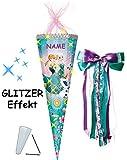 Unbekannt mit 3-D Glitzer Effekt ! - Schultüte -  Disney die Eiskönigin - Frozen  - 85 cm / 12 eckig - incl. Namen und große Schleife - Organza Abschluß - Zuckertüte ..