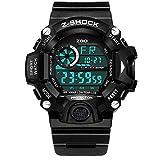 TUJHGF Männer Sport Digital Armbanduhren Outdoor Wasserdicht Military Casual LED Hintergrundbeleuchtung Uhr,Black