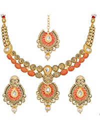 Aadita Ethnic Traditional Mazzak Alloy Kundan And Pearl Necklace Set For Women And Girls