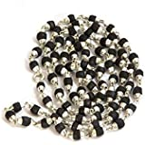 Nemichand Jewels Tulsi Mala in Silver Conical Caps for Men & Women